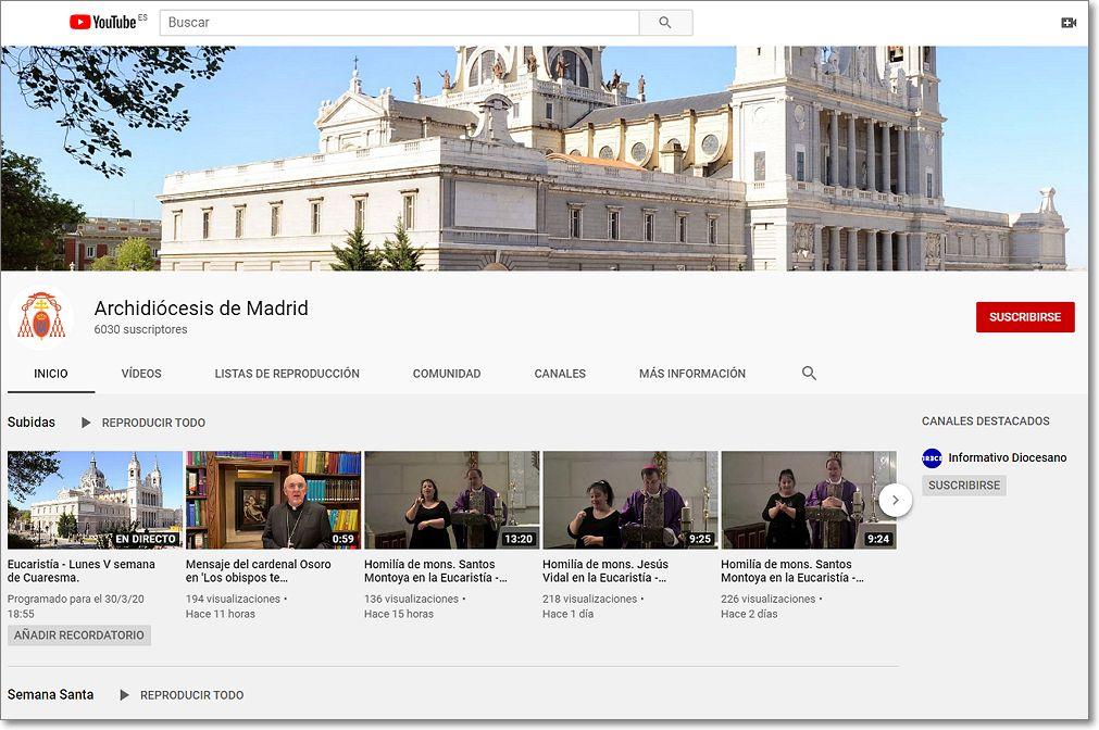 canal youtube archidiocesis madrid