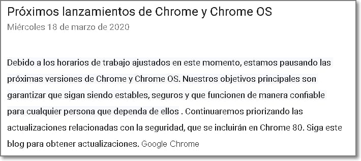 Nota traducida del blog de Chrome