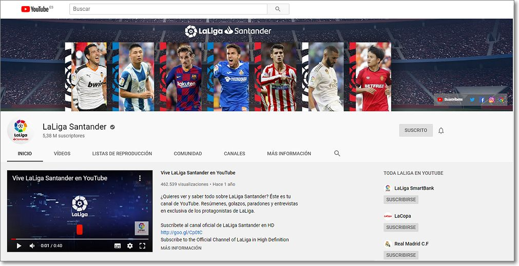 Canal en Youtube LaLiga Santander