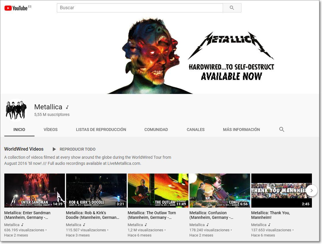canal de Metallica en Youtube
