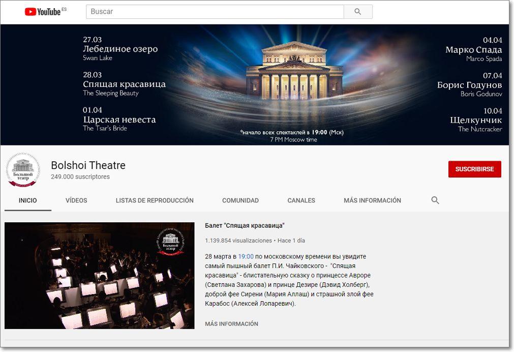 canal en Youtube Teatro Bolsoi