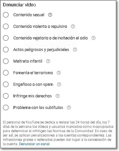 Denuncias de usurios de youtube