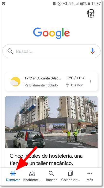 Entrar en Google Discover