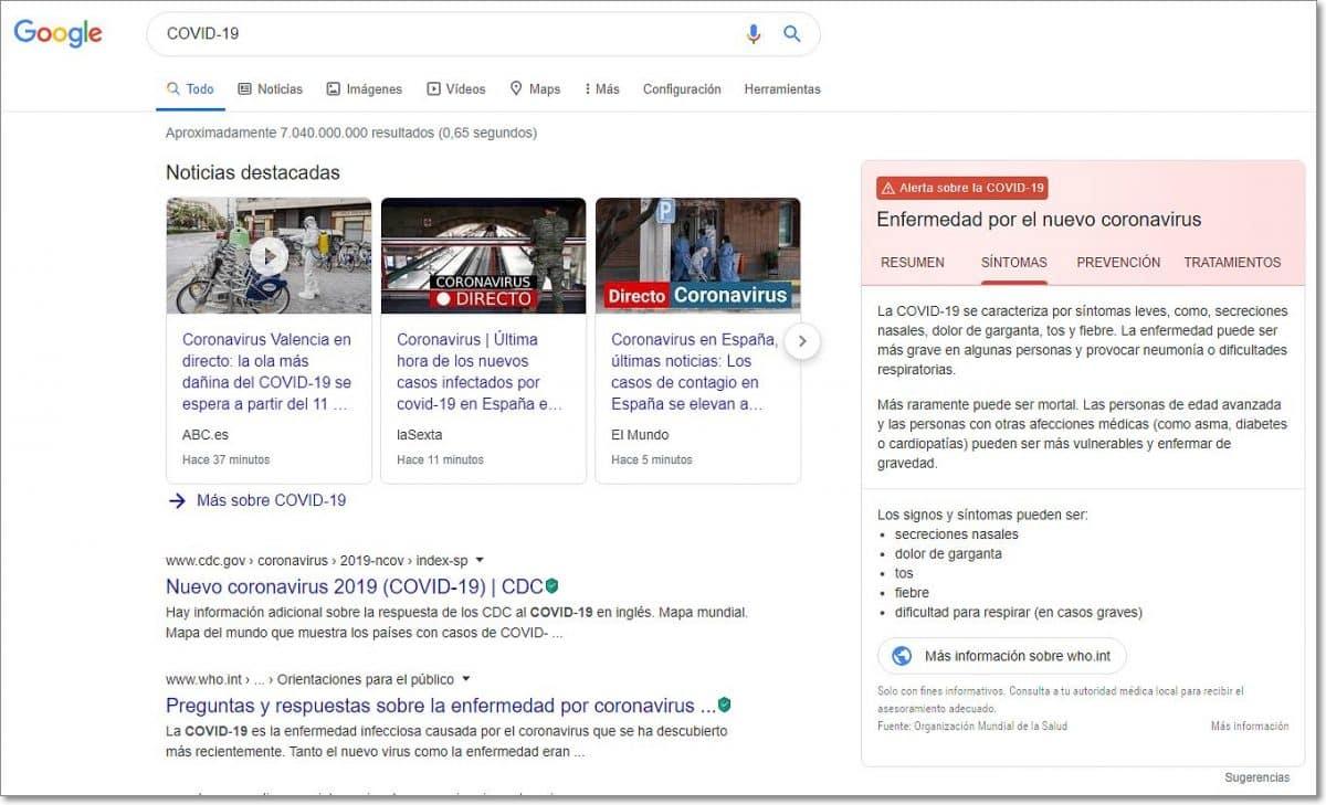Google con Información sobre el Covid-19 en búsquedas
