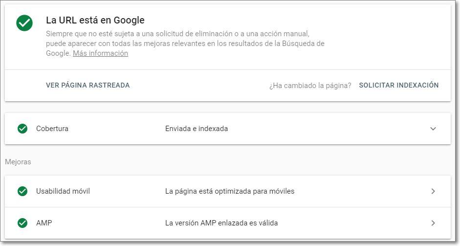 Search Console indexación de página