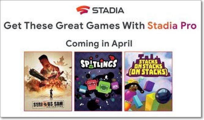 Videojuegos stadia Abril 2020