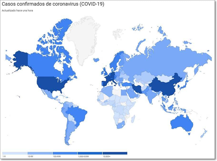 Mapa casos coronavirus actualizado
