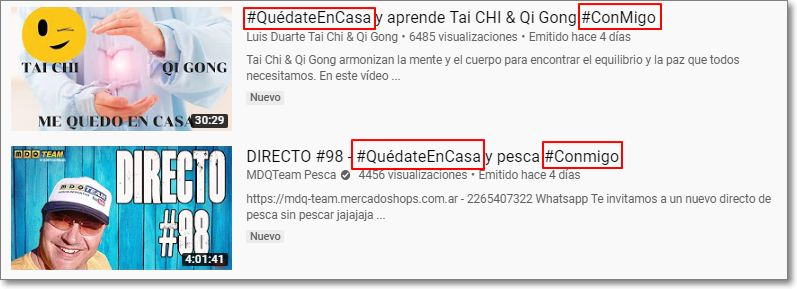 Etiquetas #QuédateEnCasa #Conmigo en resultados de Youtube