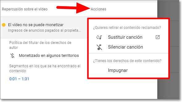 Sustituir o silenciar canción en Youtube
