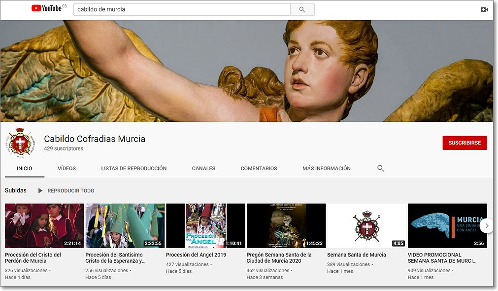 canal en Youtube del Cabildo de Murcia