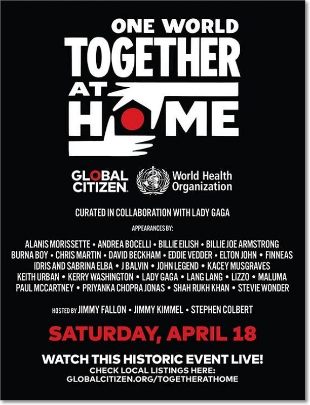 Cartel anunciador 'One World: Together At Home'
