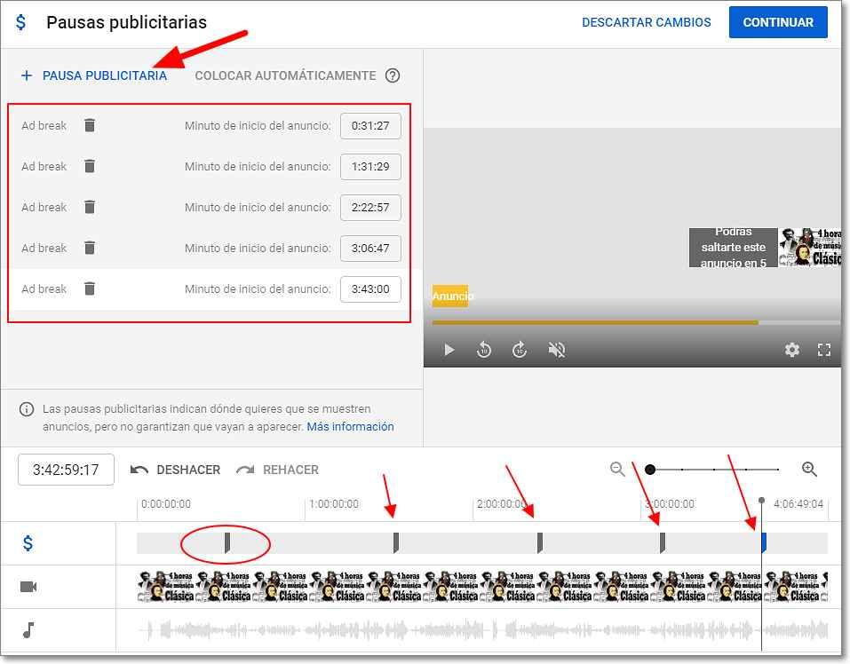 Insertar pausas publicidad en videos de Youtube