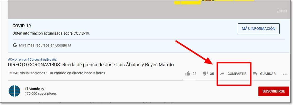 """Opción de """"Compartir"""" en Youtube"""