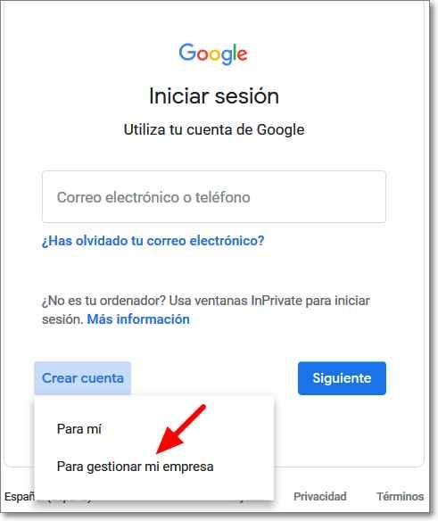 Cuenta de Google para empresa