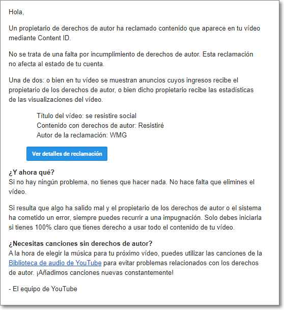 Email de Youtube