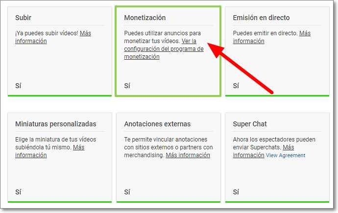 Estado y funciones de Youtube