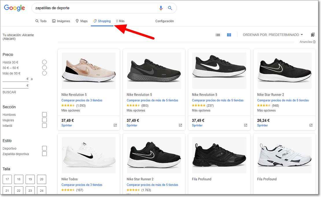 Imagen de Google shopping