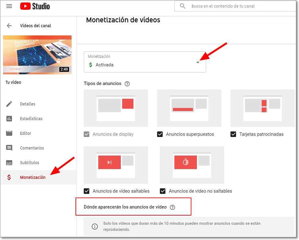 Monetización de vídeos