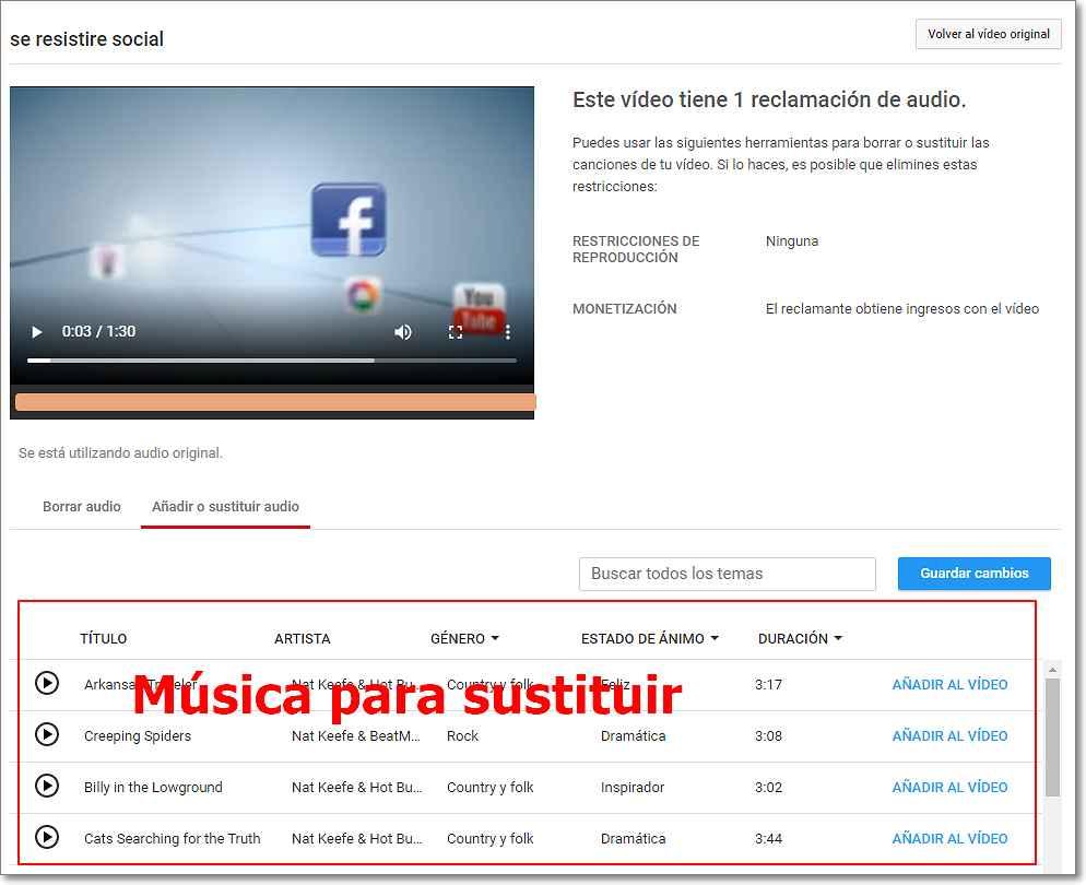 Música para sustituir en Youtube