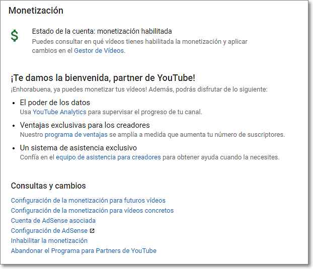 Monetización habilitada en Youtube