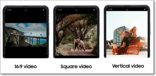 Tipos de formatos en Galaxy Z Flip