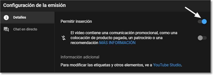 Activar la inserción en Youtube