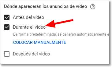 Gestionar anuncios de tiempos en Youtube