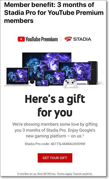 regalo stadia youtube premium