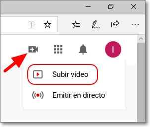 Botón para subir el vídeo