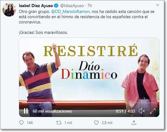 Twitter Presidenta Comunidad de Madrid