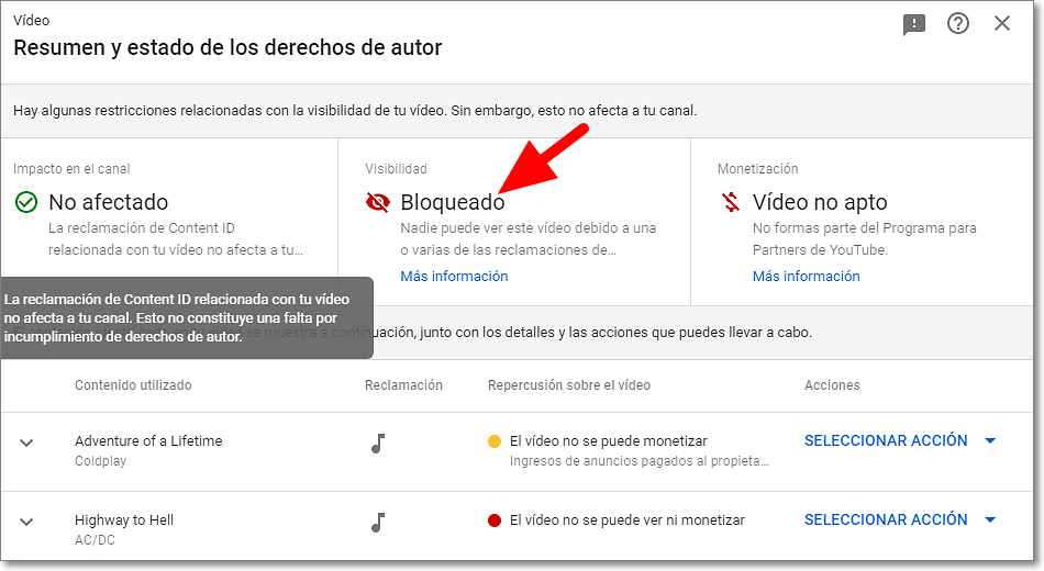 Vídeo bloqueado por derechos de autor