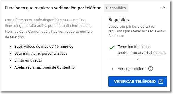 Debes verificar el canal por teléfono mediante SMS