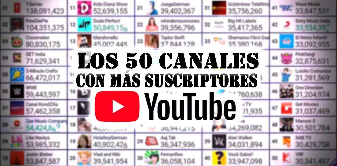 canales con mas suscriptores youtube
