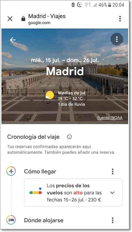 Destino Madrid en google viajes