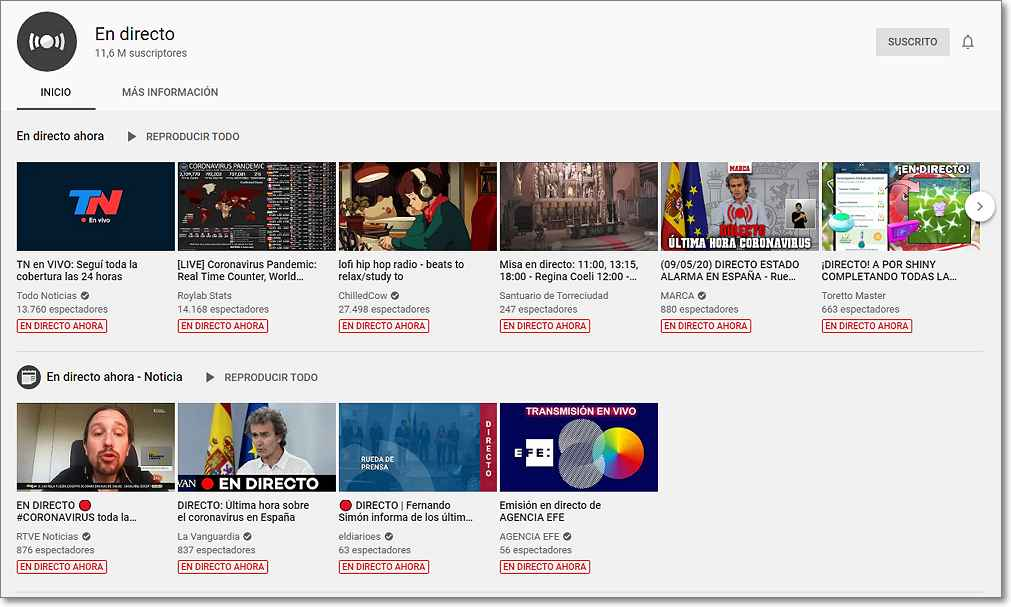Emisiones en directo por youtube