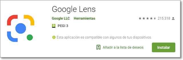 Visitar play store google lens