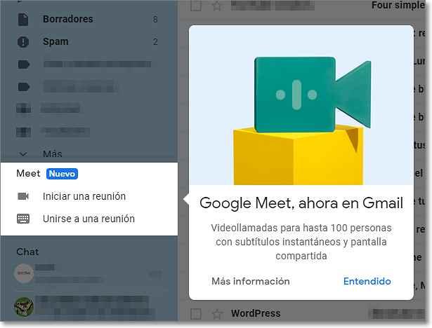 Google Meet se integra en Gmail
