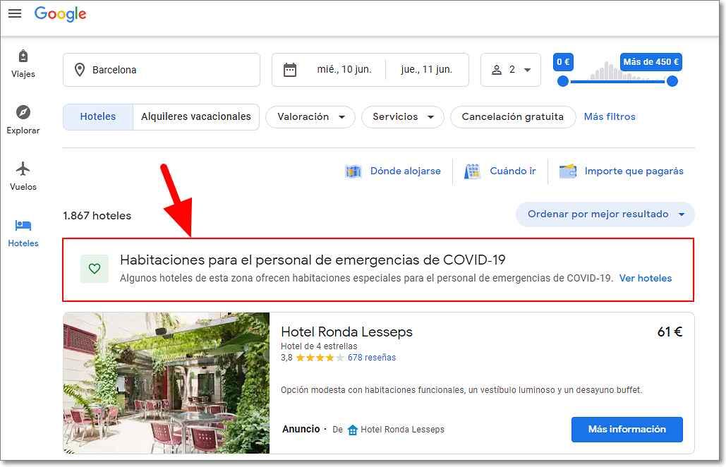 Google Viajes - Hoteles Covid-19