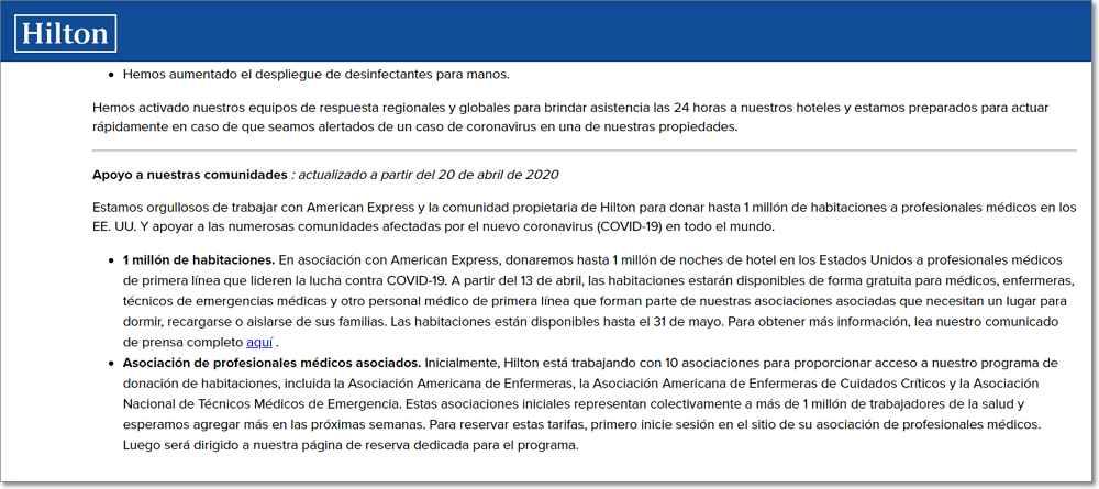 Comunicado cadena hoteles hilton covid-19