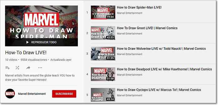 lista de reproducción de Marvel