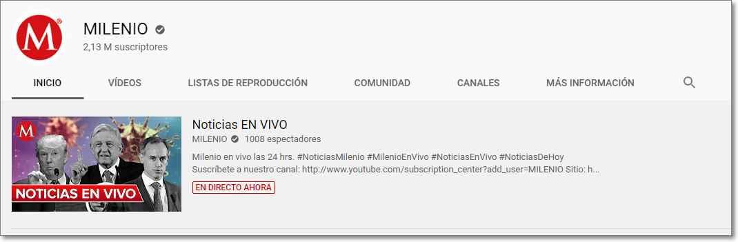 periodico Milenio en Youtube
