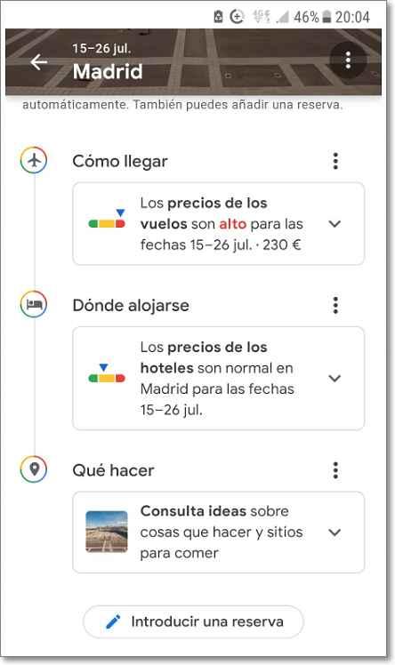 Opciones de búsqueda en Madrid con google viajes