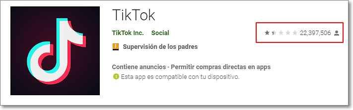 Número de reseñas TikTok en Play Store
