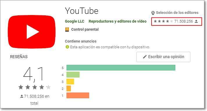 Número de reseñas Youtube en Play Store
