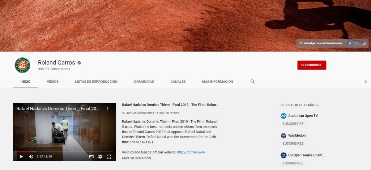 Canal Youtube Roland Garros