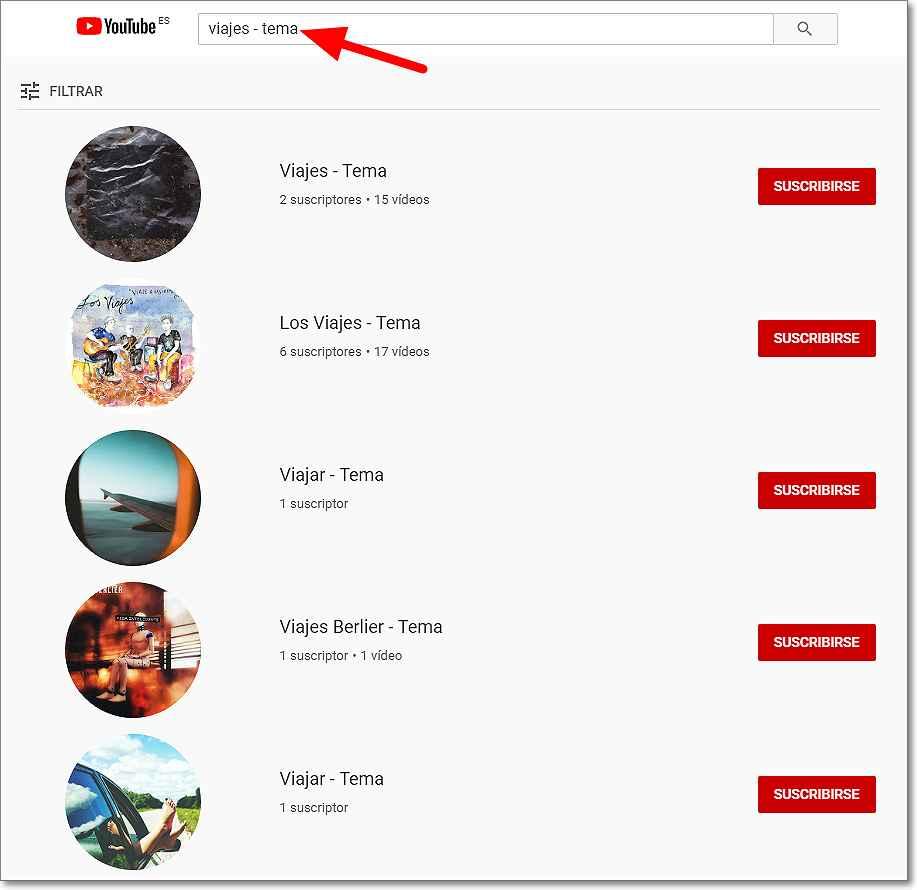 """Palabra clave """"viajes"""" canales generados por Youtube"""