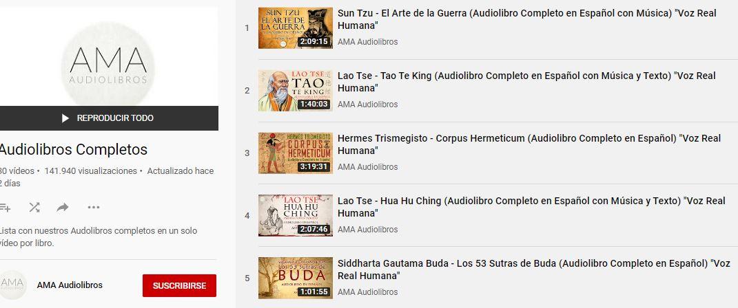 Lista reproducción audiolibros en Youtube