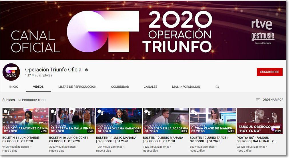 Pincha para visitar el canal de youtube OT2020