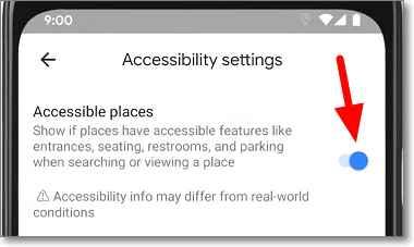 Configuración Google Maps: Lugares Accesibles