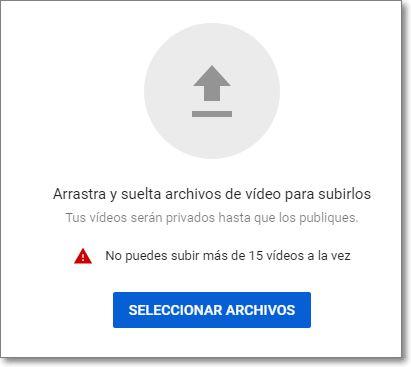 No se puede sobrepasar la cantidad de 15 vídeos